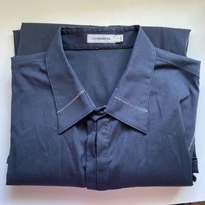 Men's Black Button Down with White Stitching